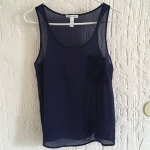 Ambiance Apparel Sheer Blue Tank Top Size Small